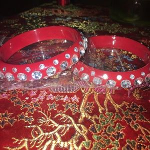 Blinged Out Red Bangles.  NWT